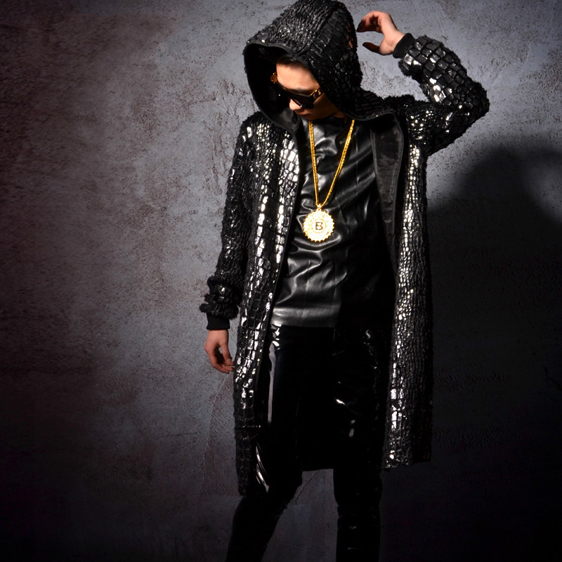 Men Fashion Hip Hop Sequin Long Cloak Hooded Trench Coat Singer Stage Costumes Male Cardigan Jacket Windbreaker Overcoat-in Trench from Men's Clothing    1