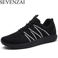 2017 New Arrival Breathable Men Casual Shoes Lace Up Mens Trainers Running Outdoor Sport Sneakers Black