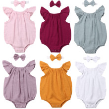 Одежда для новорожденных и маленьких девочек, комбинезон без рукавов, твердые наряды, одежда для малышей