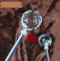 Sfera di Cristallo rotondo Scettri Bacchetta Magica Oro Argento Sceptre Spettacolo Festa Di Compleanno di Nozze Fata Magica Re Costumi Puntelli regalo