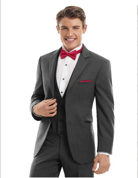 2017 Bespoke Gray Groomsmen Wedding Suits Slim Fit Tuxedos For Men Elegant Men Party Prom Suits Sets(Jacket+Vest+Pants+Bow Tie)