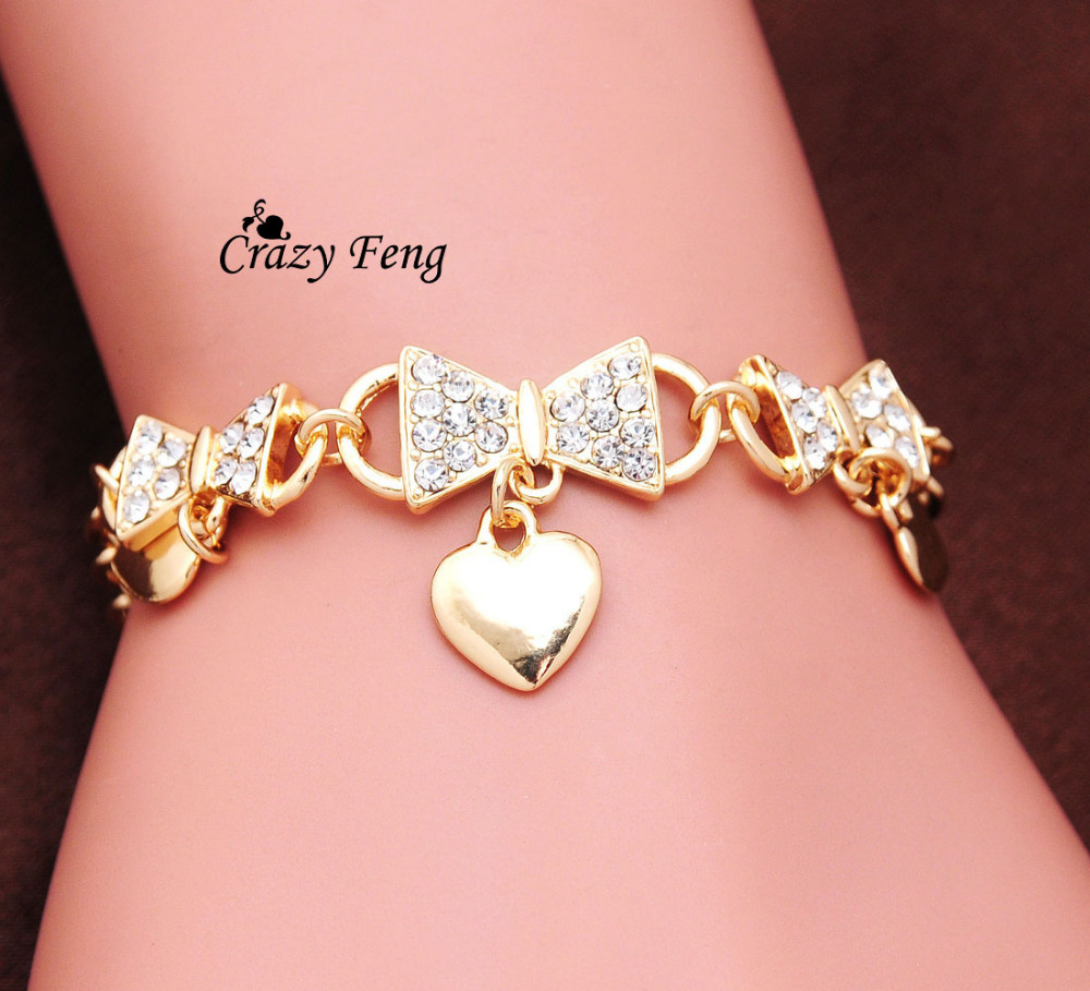 Wedding Charm Bracelet: Wedding Bridal Jewelry Costume Accessories Gold Color