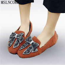 Plus Size 34-45 Spring Autumn warm Roman shoes woman fashion rhinestone bowtie flats slip on fur snow female casual