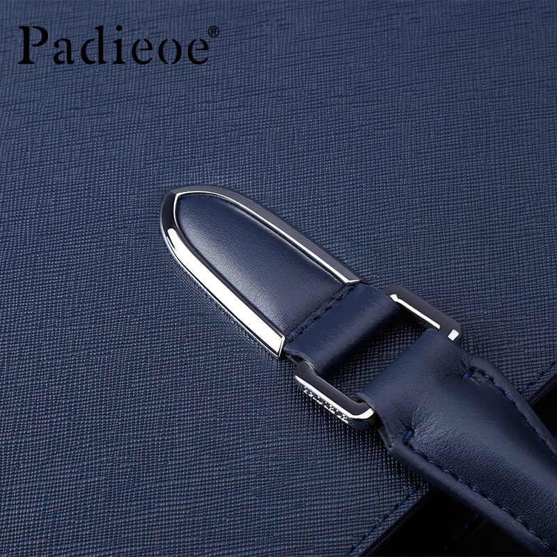 Padieoe Maleta homens Saco De Bolsas de Couro Genuíno para Homens Ombro Saco Masculino Saco de Documentos De Couro Pele de Vaca bolsa de Negócios Mensageiro saco