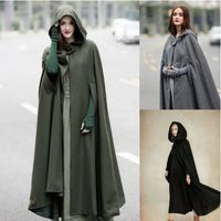 Women Poncho Autumn Casual Cape Blue Chic Cloak Girl Boho Fashion Ladies Stylish Poncho Coat Hooded Cape Trendy Witch Cosplay