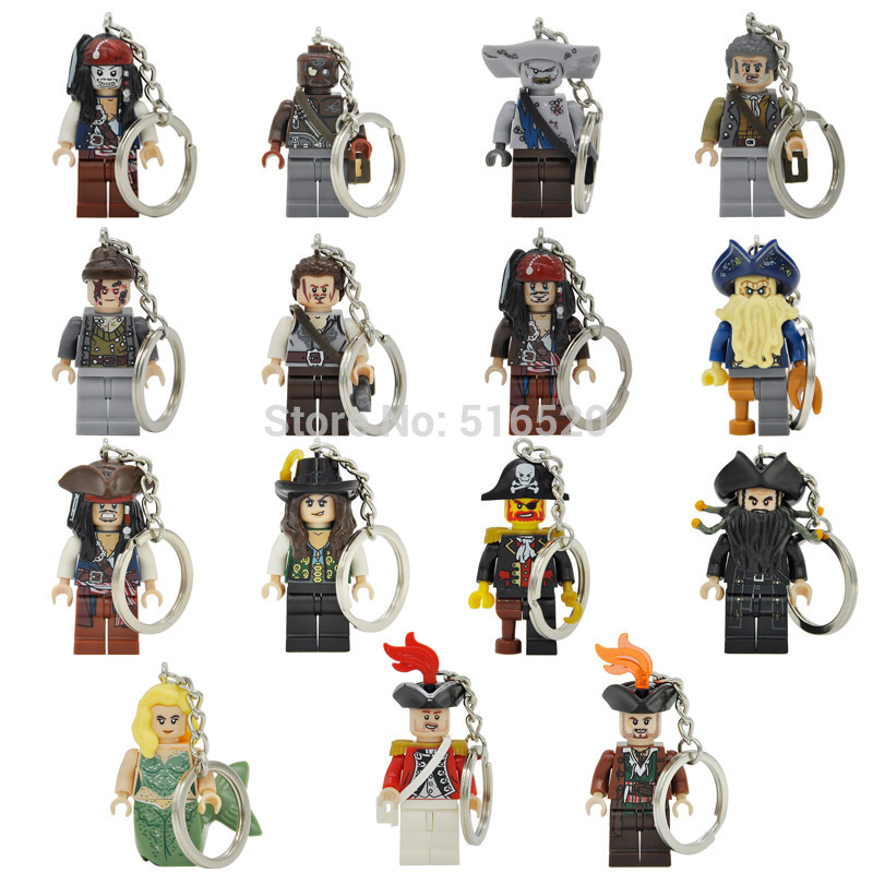 Pirates of the Caribbean Jack Sparrow Figure Keychain Davy Jones Salazar Barbossa Key Chain Ring DIY Building Blocks Toys Gift pirates of the caribbean lesaro captain jack edward mermaid davy jones silent mary carina smith building blocks kids toys pg8048