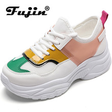 Fujin 2019 Autumn New Leisure Sneakers Dropshipping Women Big Size Torre Shoes Color Matching White Female Vulcanize