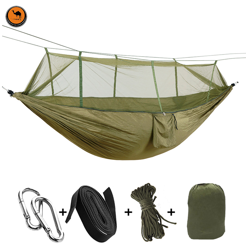 Portable Hammock High Strength Parachute Fabric ArmyGreen Hanging Bed With Mosquito Net For Outdoor Camping Travel portable outdoor traveling camping parachute nylon fabric sleeping bed hammock