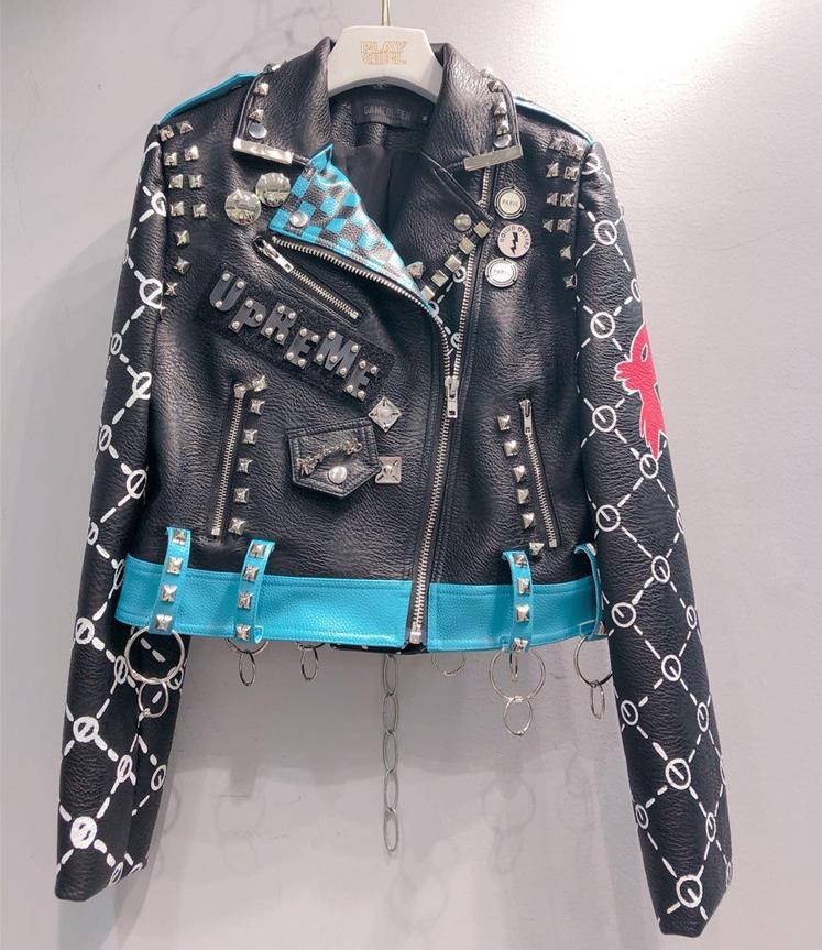 Real photos Spring fashion Thailand style rivet beading jackets graffiti embroidery cartton locomotive Pu   leather   jacket wq828