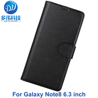 Luxury Business Genuine Litchi Pattern Flip Wallet Leather Phone Case For Samsung Galaxy Note8 Note 8 Cover Fundas With Stand