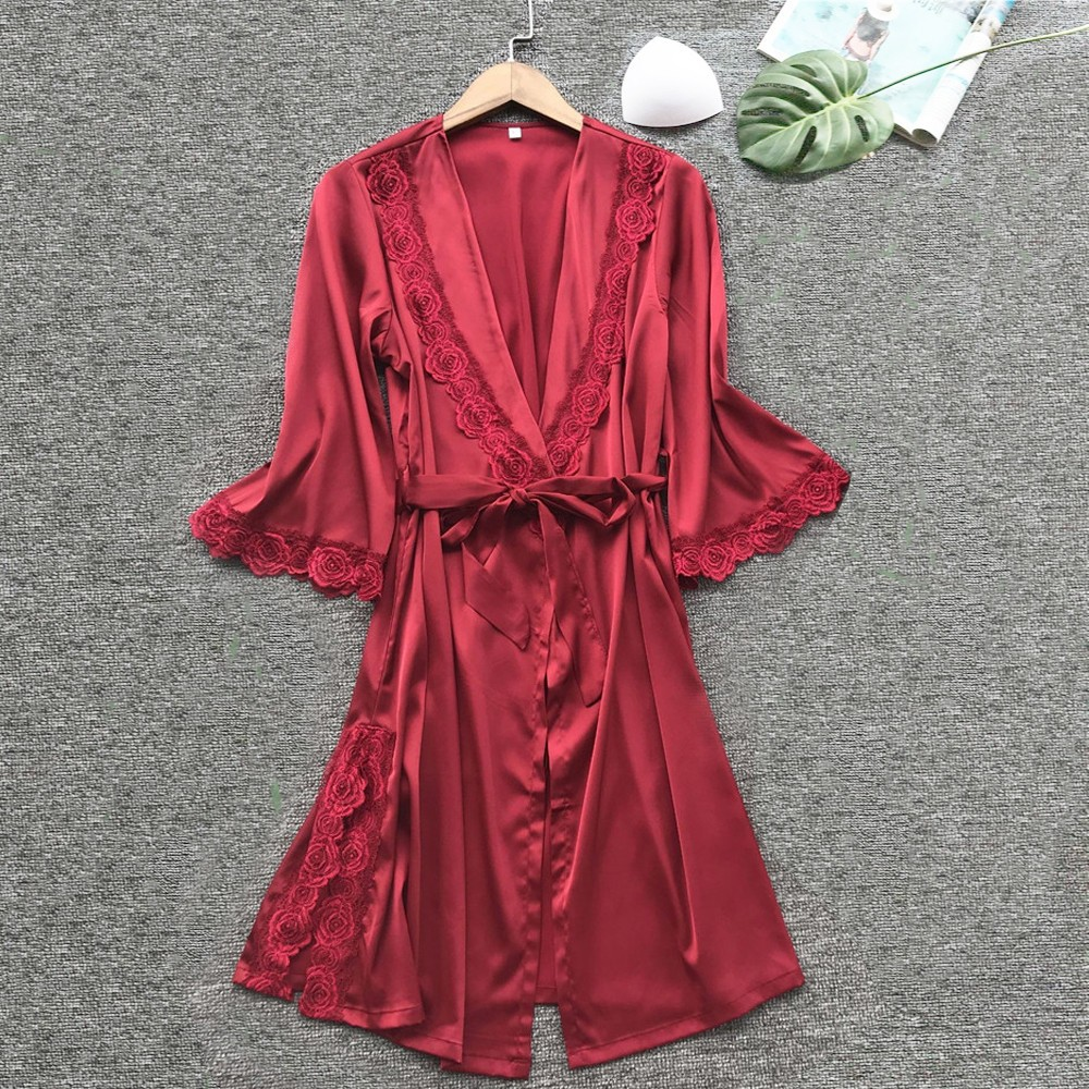 Sexy lace splicing lingerie women night dress satin sleepwear lace up sleepwear half sleeve night gown bathrobe with waist belt