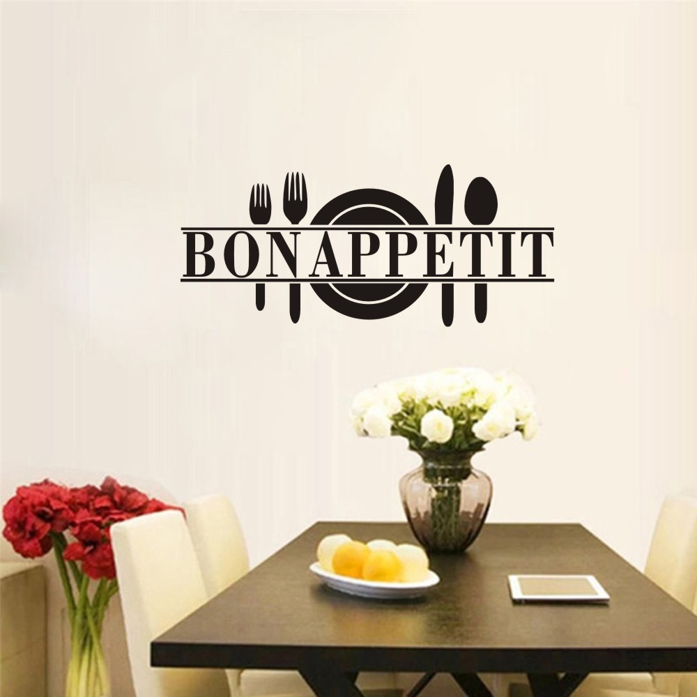 French fork Bon appetit restaurant wall stickers dining room sticker for kitchen tile sticker wall decorated for refectY180613