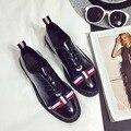 Британский Стиль Кожаные Ботинки Швейные Повседневная Полосой Бантом Дизайн Узелок Женщины Квартиры Круглый Носок Белый Черный Студенты Оксфорд Обувь