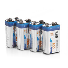 4pcs EBL 280mAh 6F22 Rechargeable Battery 9v Battery Ni-MH 9 Volt Replacement Batteries free shipping