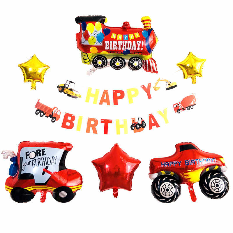 Car Train Foil Balloons Boys 1st Birthday Party Decorations Kids Truck Balloon Baby Shower Children's Toys Car Baloon Globos