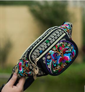 Prix pour 2016 Nouveau Nationale Vintage Ethnique broderie broderie sac de toile de Haute Qualité bras taille packs voyage portable d'épaule sac