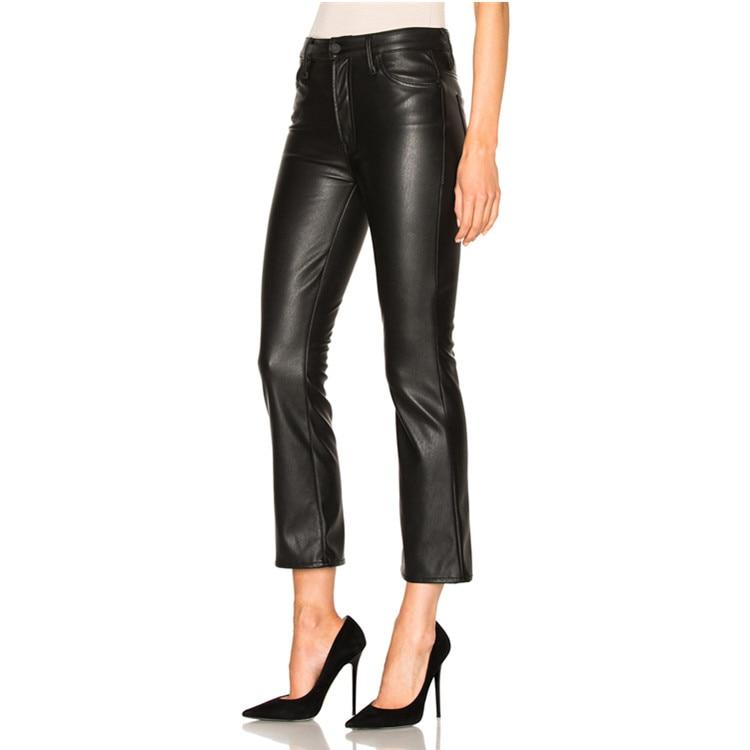 Veau Mode Mince Slim Cuir Taille Printemps Wj257 Gratuite Livraison Pu Haute Pantalon Était Longueur 2017 Femmes Flare Nouvelle De En Black Marque A0Ix7azq