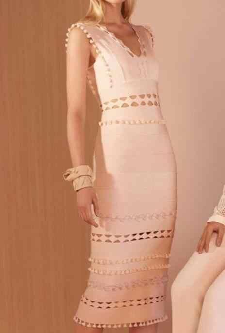 Vestido de vendaje de cuello en V Sexy de alta calidad para mujeres elegantes vestidos de fiesta de noche de moda Bodycon