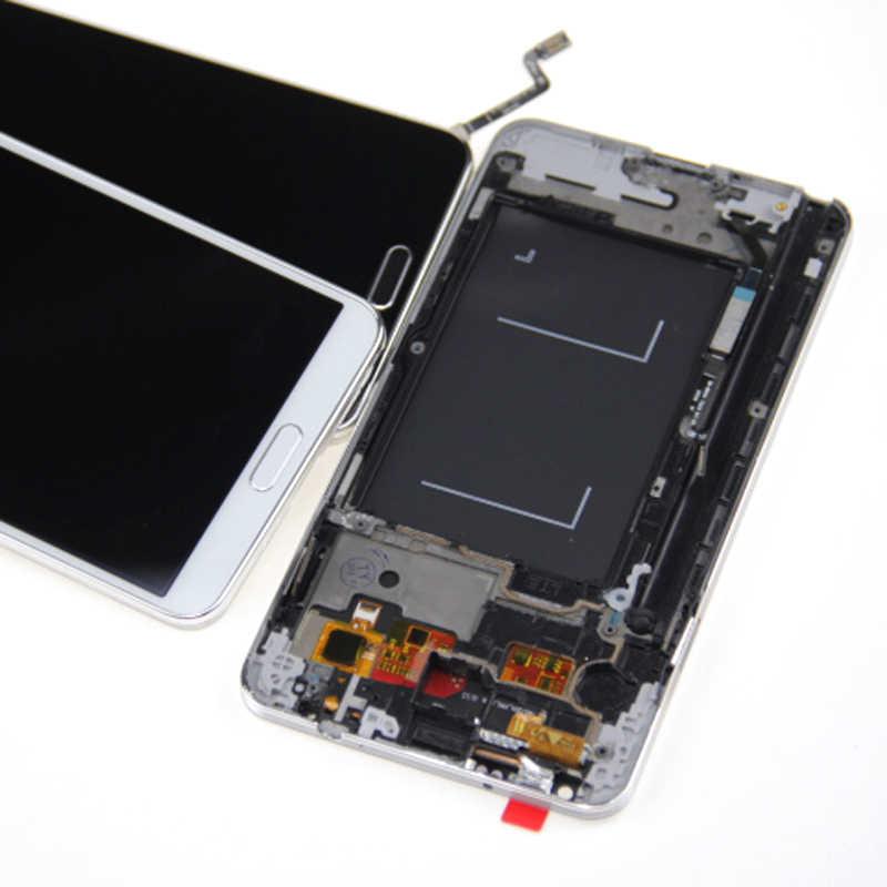لسامسونج غالاكسي ملاحظة 3 ملاحظة III N9005 شاشة إل سي دي باللمس الشاشة مع محول الأرقام الحافة الجمعية الإطار استبدال