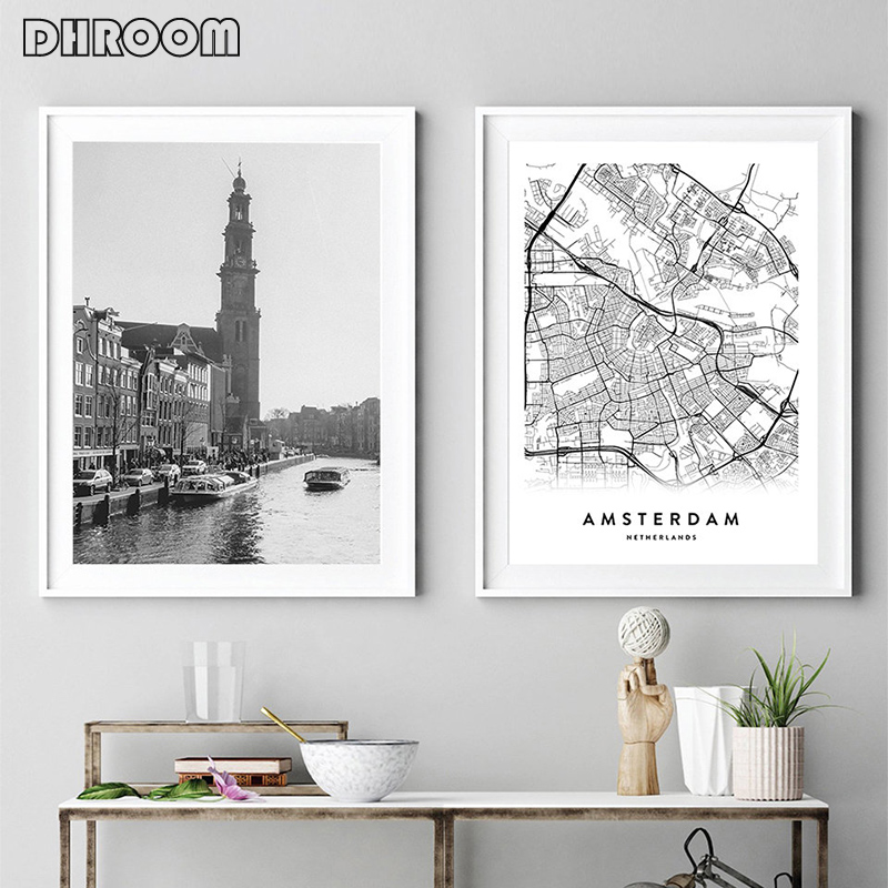 Póster con estampado de mapa de ciudad para decoración del hogar, imagen artística de pared en blanco y negro, mapa de Países Bajos, estilo nórdico, decoración para sala de estar