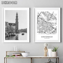 Amsterdam City Map Set Poster Print Black White Wall Art Picture Home Decor Netherlands Map Nordic Style Living Room Decoration amsterdam city map