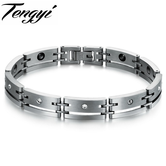 fb2682d1ebe7 Titanium Steel Men's bracelets & bangles Men Chain Fashion Jewelry, healthy  magnetic bracelet Sport wristband