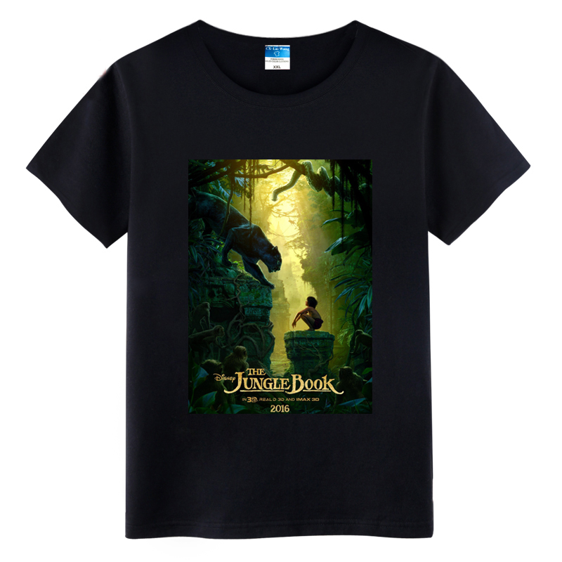2016 Movie The Jungle Book Poster Mowgli Cotton Short Sleeve Printing Pattern O-Neck T-shirts Tops