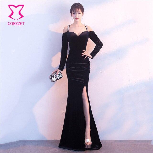 00cb12527e4 Corzzet Elegant Black Velvet Sexy Deep V Neck Off Shoulder Full Sleeve  Party Night Long Mermaid