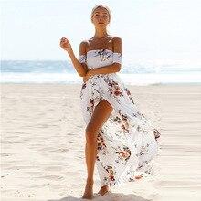 Lossky 2018 New Women Sexy Side Split Summer Dress Off Shoulder Vintage Print Maxi Beach Vestidos