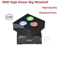 EU US Plug New 3X10W RGBW Quad Color LED Big Windmill Effect Light Hi Quality 50W