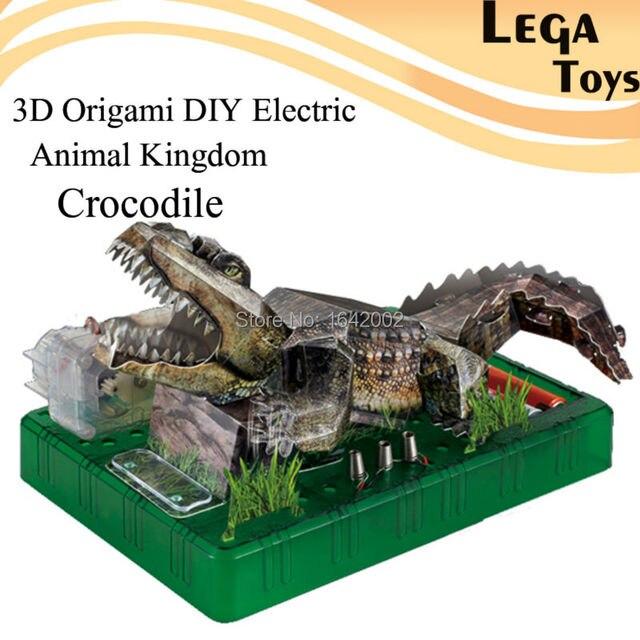 3D Оригами DIY Электрический Животное Царство Крокодил, Электрическая Схема Бумаги Науки Наборы для Детей, DIY Бумаги Головоломки Наука модель Игрушки
