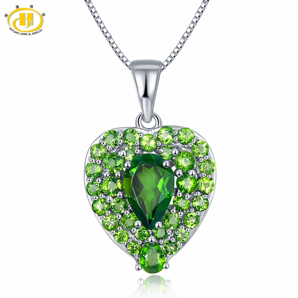 Hutang Solid 925 Sterling Silver 2.75ct Natural Gemstone Chrome Diopside Heart Pendant & Necklace Fine Jewelry For Women