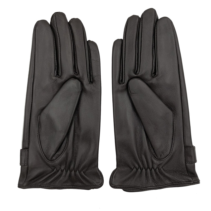 Spring Winter Real Leather Short Thin Thick Black Brown Touched Screen Glove Man