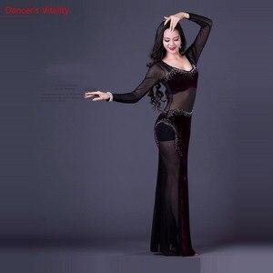 Image 3 - Traje de baile coreano Oriental de una pieza para mujer vestido largo Sexy malla transparente equipo de baile terciopelo púrpura negro Rosa caliente M L