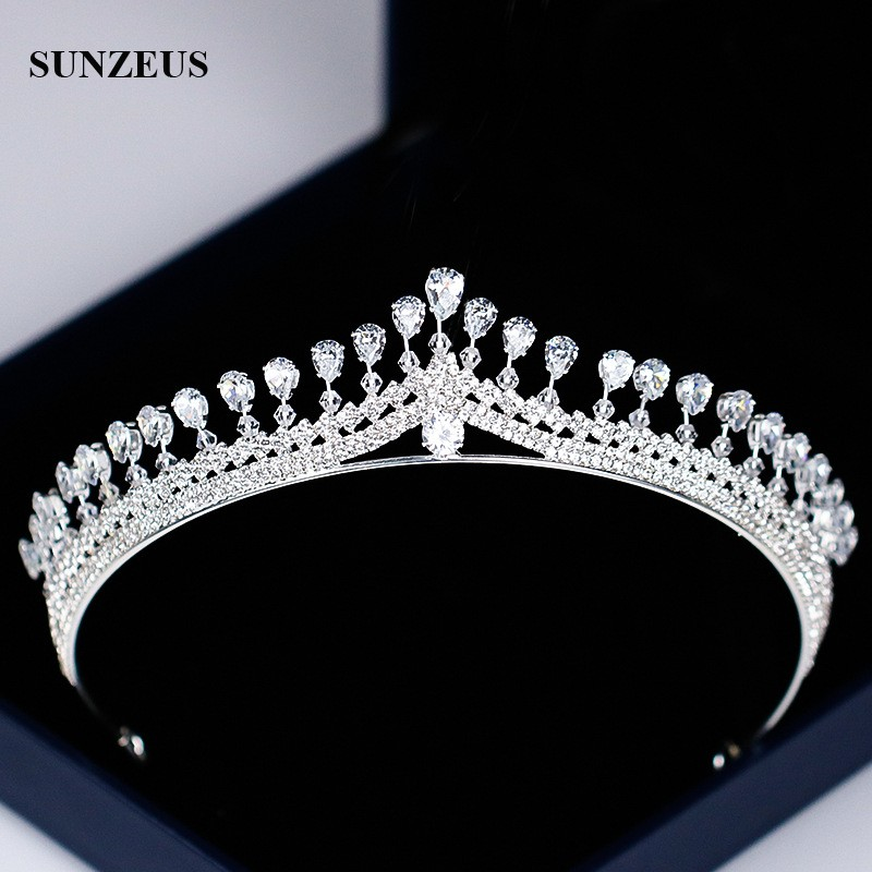 New Strass Bridal Tiara Shinny Silver Princess Crowns For Brides Wedding Head Accessory Free Shipping SQ0294-in Bridal Headwear from Weddings & Events