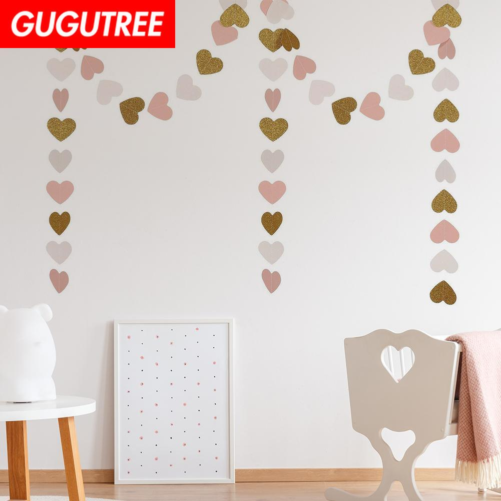 Decorate 2m red pink blue gold yellow 7cm heart banners wedding event christmas halloween festival birthday party PD 168 in Banners Streamers Confetti from Home Garden