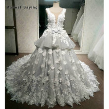Luxury Silver and Ivory Ball Gown Flowers Embroidery Lace Wedding Dress 2018 Cathedral Train Sexy Nude Illusion Back Bridal Gown