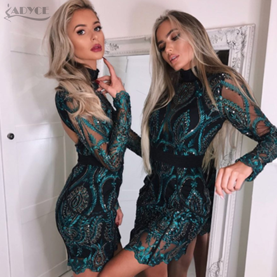 ADYCE Chic Celebrity Evening Party Dress 2018 Woman Luxurious Long Sleeve Sequined Backless Sexy Mesh Hollow Out Dress Vestidos