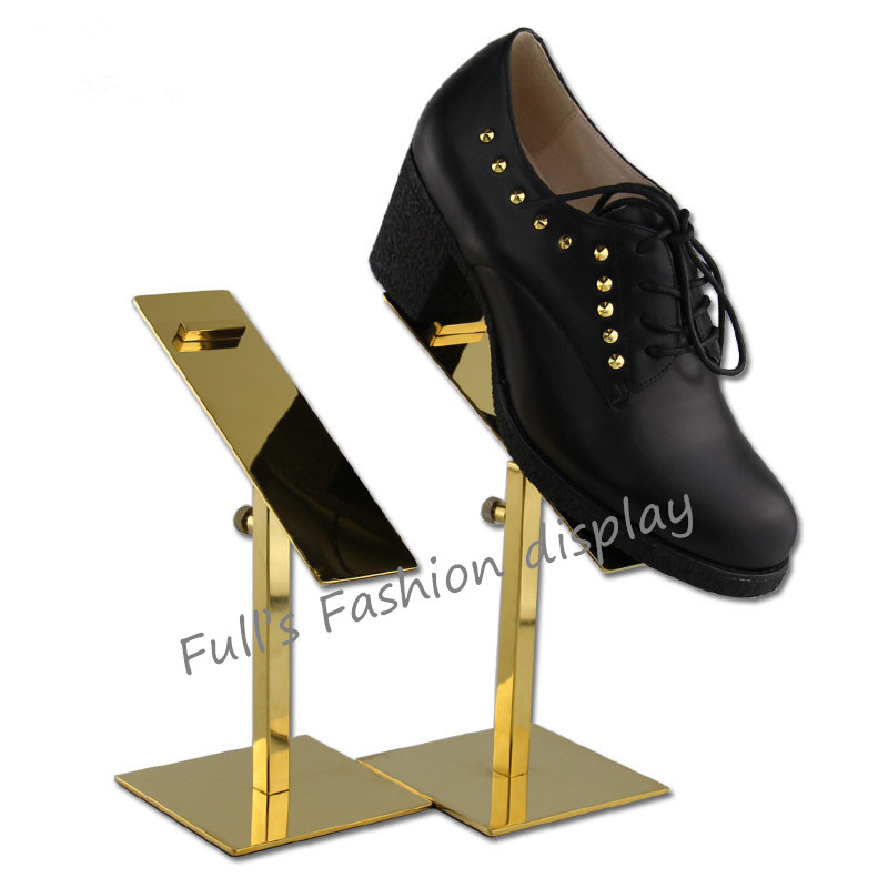 10pcs Wholesale fashion gold stainless steel shoe tree showing shelf holder adjustable matel shoes display stand