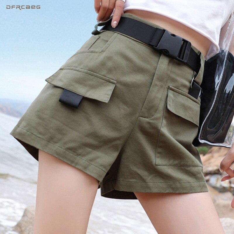 3XL Plus Size Mulheres Shorts Com Cinto 2019 Moda Streetwear Ocasional Shorts Da Carga de Verão Feminino BF Estilo Exército Verde Curto femme