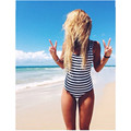 2017 Swimwear Women One Piece Swimsuit New White Black Navy Striped Padded Strap Monokini Sexy High Cut Backless Biquini 1972