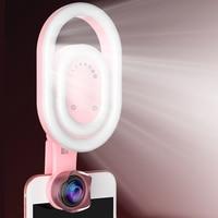 Girlwoman 56 LED Lamp Selfie Light Flash Wide Angle Lens Phone Flashlight LED Selfie Light Clip on Macro lens Glass Lens