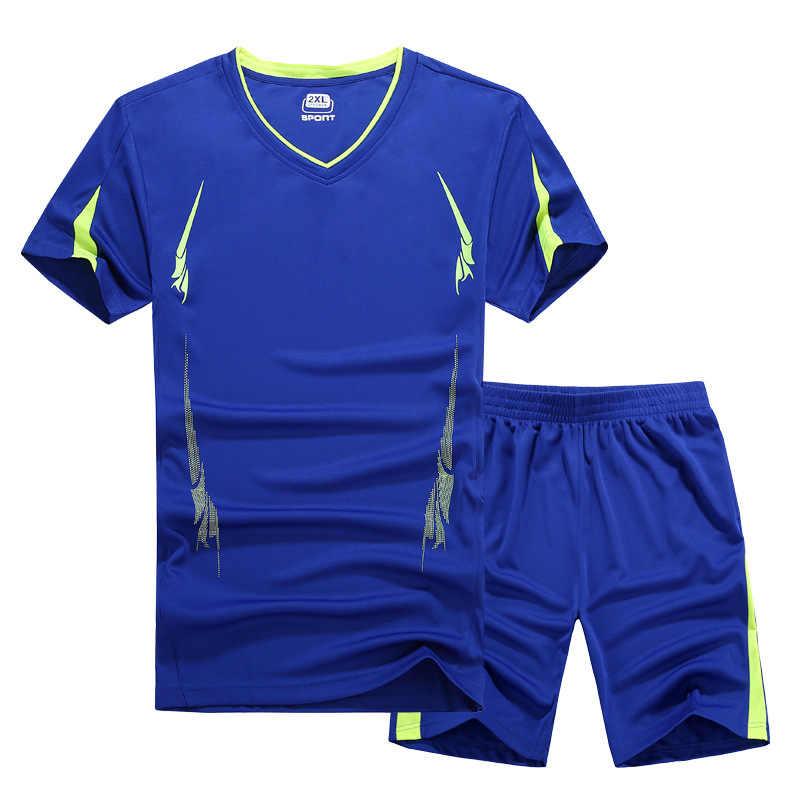 2018 летний мужской комплект одежды, спортивный костюм, футболка с короткими рукавами + шорты, комплект из двух предметов, спортивный костюм, Быстросохнущий Спортивный костюм для мужчин, M-9XL