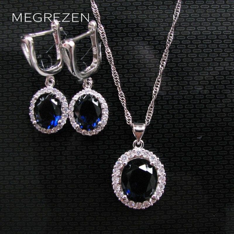 MEGREZEN Blue Bridal Jewelry Earrings Necklace Sets Costume Jewelery Wedding Collares Y Pendientes Mujer Conjuntos Ys003Ne-4