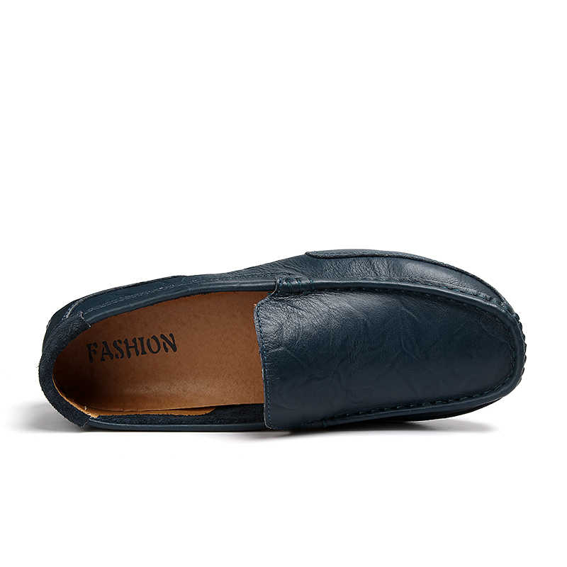 DUDELI yaz hakiki deri erkek ayakkabısı loafer'lar delik yumuşak nefes erkek Moccasins Flats rahat tekne sürücü ayakkabı sürüş