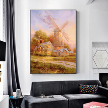 Canvas Prints Autumn Windmill Cabin Wall Art Painting Picture For Living Room Decoration