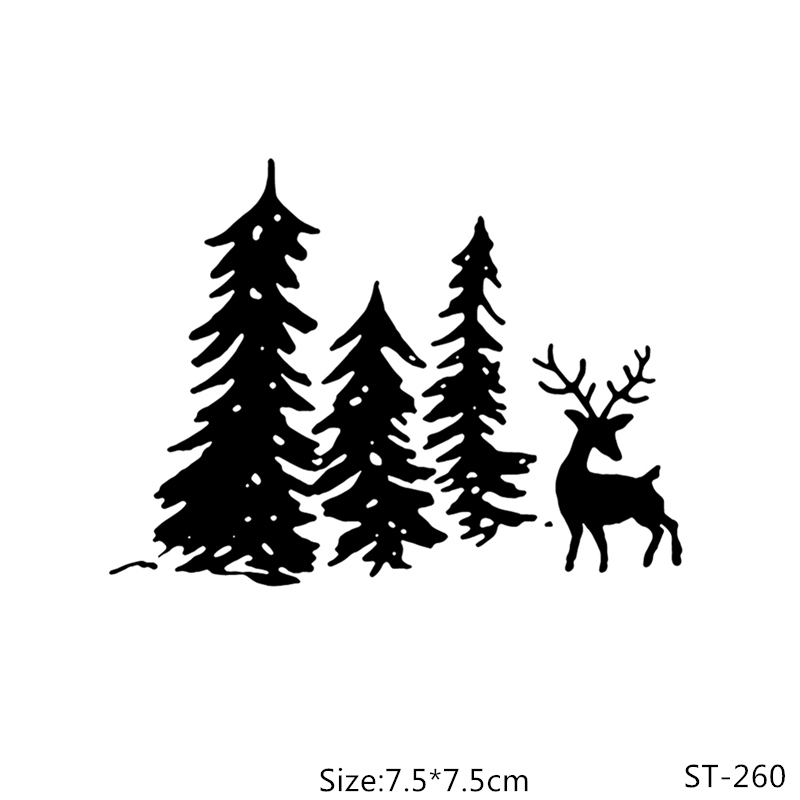 AZSG Cedar and Deer Clear Stamps For DIY Scrapbooking/Photo Album Decorative Silicone Craft Chapte