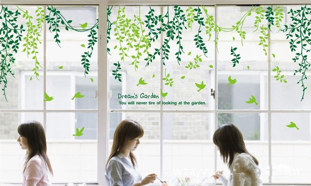 Green tree leaf window glass wall sticker decal home decor removable transparent