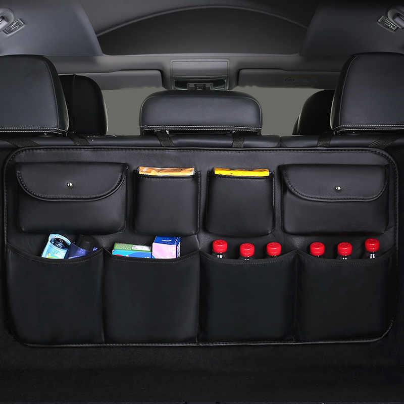 High quality leather Car Rear Seat Back Storage Bag Multi Pocket Car Trunk Organizer Auto Stowing Tidying Interior Accessories