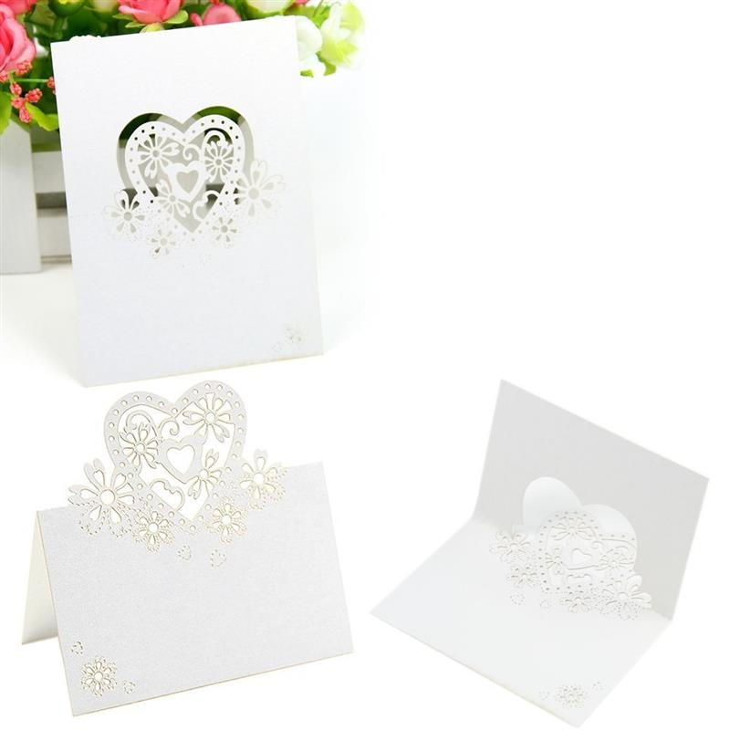 50pcs Hollow card Love Heart Laser Cut Wedding Party Table Name Place Cards Favor Decor Heart Card White for Wedding Decoration